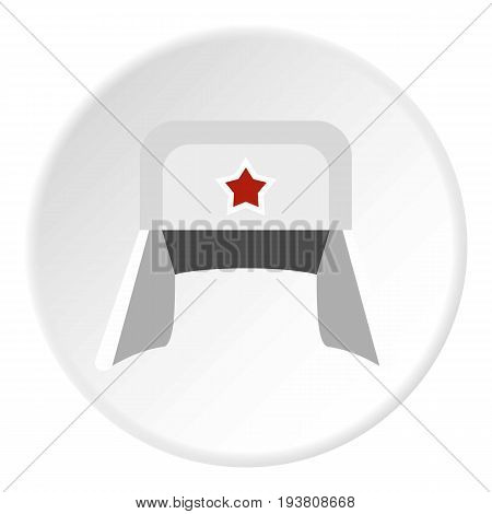 Earflaps icon in flat circle isolated vector illustration for web