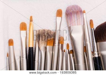 Makeup Brushes With Natural And Synthetic Fluff
