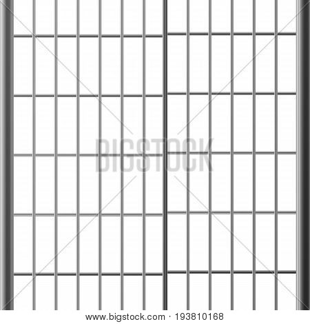 Prison Bar Or Doors. Isolated On White Steel, Iron, Metal Jail Bars. Realistic Illustration. Pokey