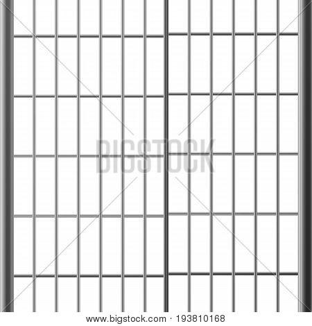 Prison Bar Or Doors. Isolated On White Steel, Iron, Metal Jail Bars. Realistic Illustration. Pokey