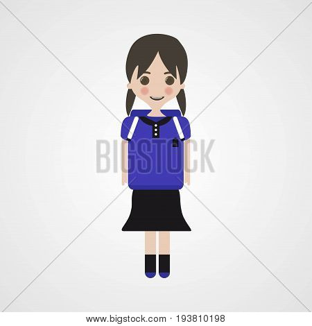 Happy Schoolgirl Character Vector Illustration Eps File