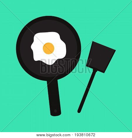 fried eggs in a frying pan and egg shell in the background illustration vector