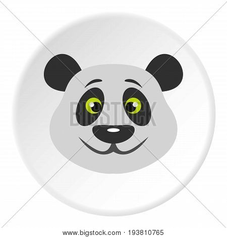 Head of panda bear icon in flat circle isolated vector illustration for web