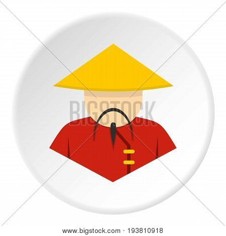 Asian man in conical, straw hat icon in flat circle isolated vector illustration for web