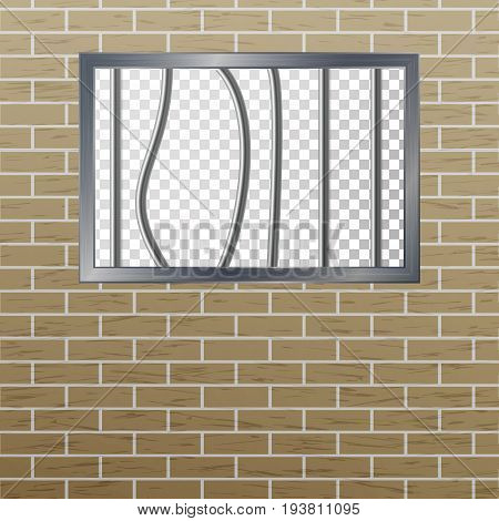 Window In Pokey With Bars. Brick Wall. Vector Jail Break Concept. Prison Grid Isolated.