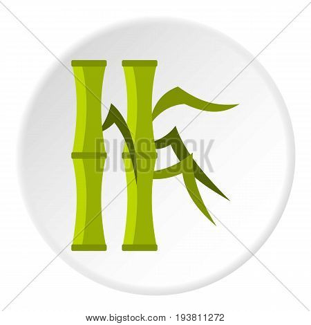 Green bamboo stems icon in flat circle isolated vector illustration for web