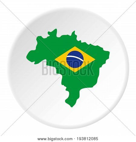 Map of Brasil icon in flat circle isolated vector illustration for web