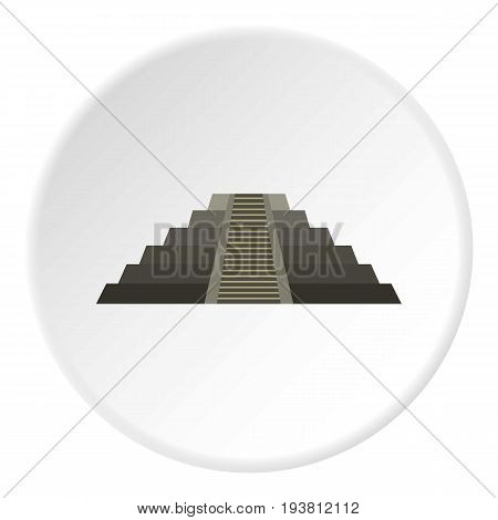 El Castillo Mayan pyramid at Chichen Itza icon in flat circle isolated vector illustration for web