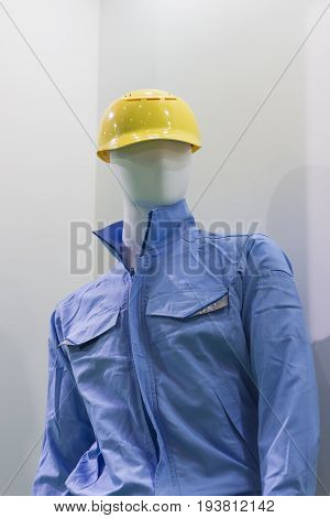 mannequin with a Safety helmet and blue uniform ; Working Hard Hat;Personal Protection Equipment PPE