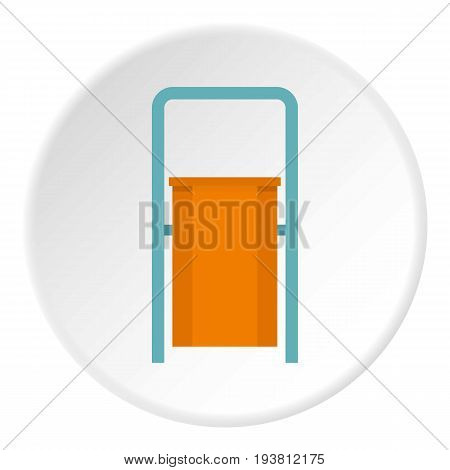 Orange public garbage bin icon in flat circle isolated vector illustration for web