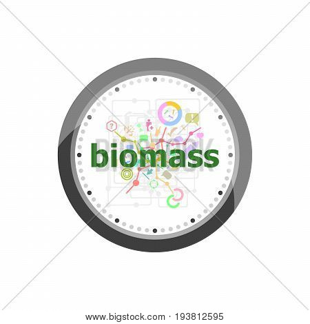 Text Biomass On Digital Background. Social Concept . Set Of Modern Flat Design Concept Icons For Int