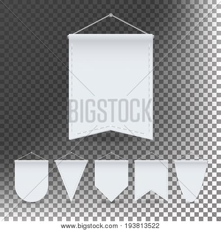 White Pennant Template Set Vector. Empty 3D Pennants Banners Blank. Different Forms. Illustration Isolated