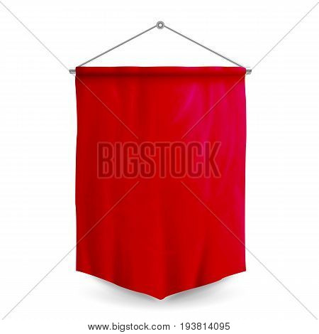 Red Pennant Template Vector. Empty 3D Pennant Blank. Realistic