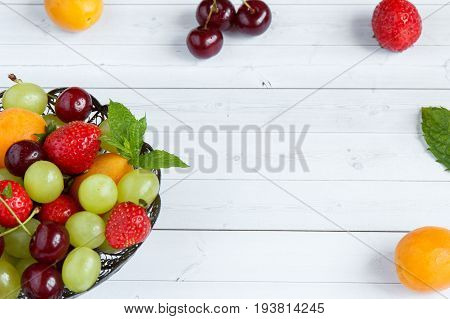 Mixed Fresh fruits. Selective focus and copy space. Fruit concept