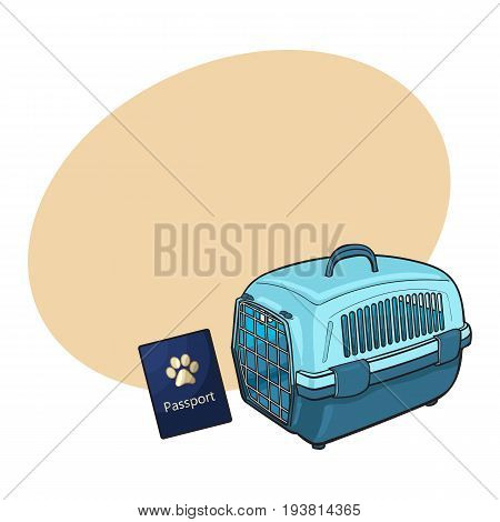Travel with cats, dogs - plastic carrier and pet passport, sketch vector illustration with space for text. Hand drawn plastic pet carrier and passport, id for travelling with cats and dogs