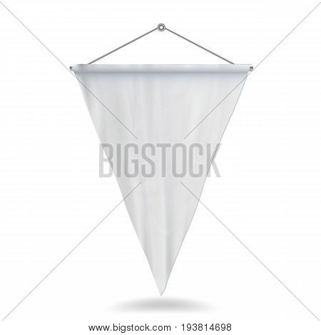 White Pennant Template Vector. Clean 3D Pennant Blank. Realistic Illustration