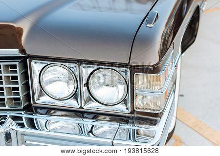 Headlight of Vintage classic american car .