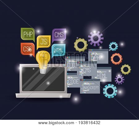 blue dark background with brightness of laptop device and gears mechanism with set program windows of programming language codes and textbox vector illustration