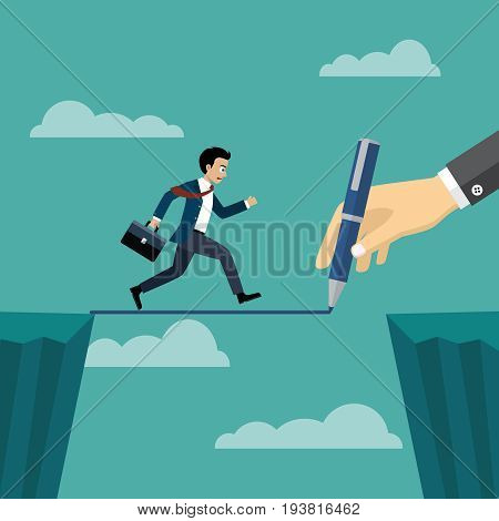 hand of boss using a pencil draw path cross gap of mountain with business man running on the way.