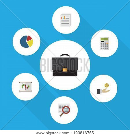 Flat Icon Gain Set Of Calculate, Scan, Hand With Coin Vector Objects. Also Includes Diplomat, Diagram, Portfolio Elements.