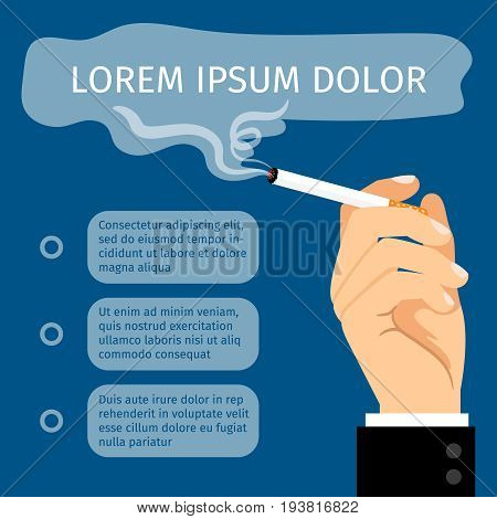 Male hand holding cigarette cartoon vector illustration. Man smoke cigarette, smoker poster with text