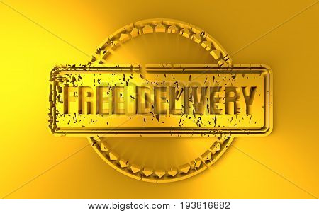 Distressed stamp icon. Graphic design elements. 3D rendering. Free delivery text. Golden metallic material