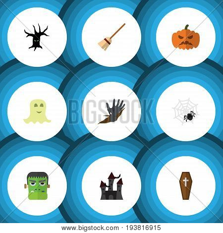 Flat Icon Halloween Set Of Zombie, Terrible Halloween, Spinner And Other Vector Objects. Also Includes Monster, Pumpkin, Arachnid Elements.