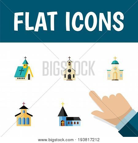 Flat Icon Christian Set Of Christian, Architecture, Religious And Other Vector Objects. Also Includes Traditional, Building, Structure Elements.