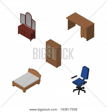 Isometric Furnishing Set Of Table, Bedstead, Office And Other Vector Objects. Also Includes Sideboard, Armchair, Office Elements.
