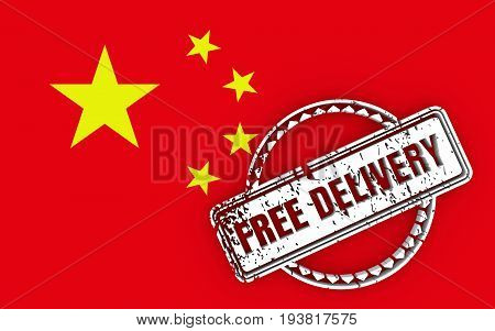 Distressed stamp icon. Graphic design elements. 3D rendering. Free delivery text. Flag of the China