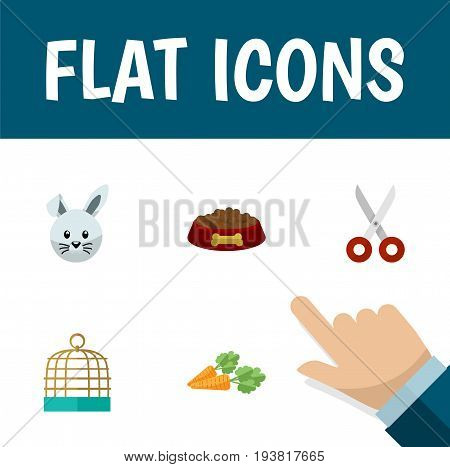 Flat Icon Pets Set Of Root Vegetable, Bunny, Bird Prison And Other Vector Objects. Also Includes Cage, Hound, Birdcage Elements.