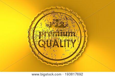 Stamp icon. Graphic design elements. 3D rendering. Premium quality text. Golden metallic material