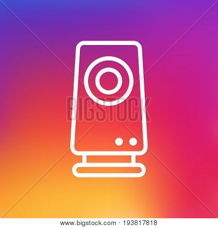 Isolated Amplifier Outline Symbol On Clean Background. Vector Speaker Element In Trendy Style.