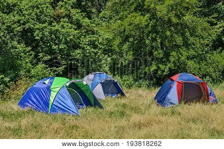 Camping tents in a forest glade. Camp for camping on a sunny summer day.