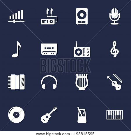 Set Of 16 Music Icons Set.Collection Of Quaver, Acoustic, Rhythm Motion And Other Elements.