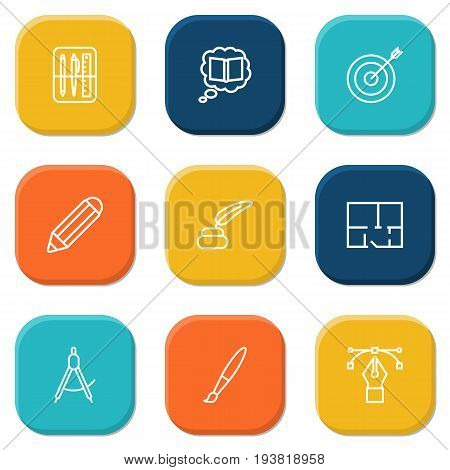 Set Of 9 Constructive Outline Icons Set.Collection Of Bezier Curve, Pencil, Inkwell With Pen And Other Elements.