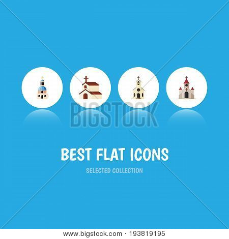 Flat Icon Church Set Of Traditional, Religion, Building And Other Vector Objects. Also Includes Building, Traditional, Catholic Elements.
