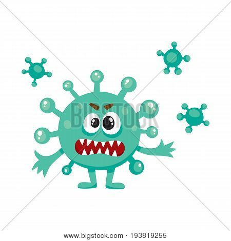 Ugly green virus, germ, bacteria character with human face, cartoon vector illustration on white background. Scary bacteria, virus, germ monster with human face and sharp teeth