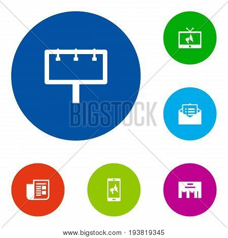 Set Of 6 Advertising Icons Set.Collection Of Inbox, Placard, Message And Other Elements.