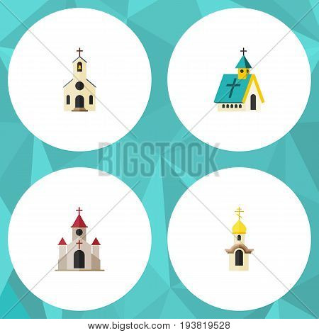 Flat Icon Church Set Of Structure, Building, Architecture And Other Vector Objects. Also Includes Traditional, Architecture, Church Elements.