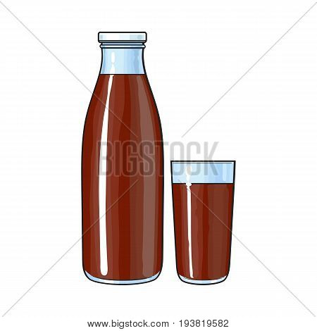 Side view drawing of bottle and glass with chocolate milk, cocoa drink, sketch vector illustration isolated on white background. Hand drawn bottle and glass full of chocolate milk