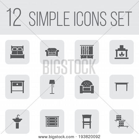 Set Of 12 Situation Icons Set.Collection Of Commode, Sink, Stool And Other Elements.