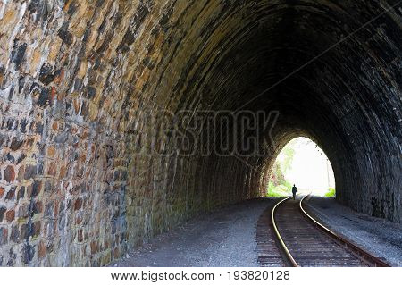 One of the many tunnels 83 meters long, built in 1904 on the Circum-Baikal Railway. Siberia, Russia