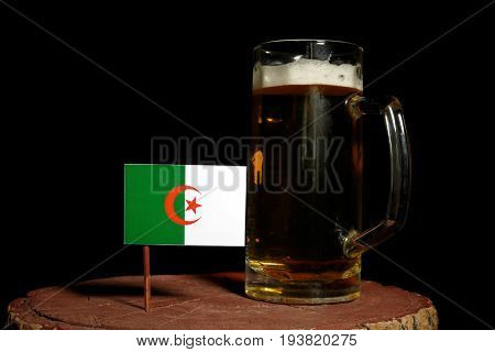 Algerian Flag With Beer Mug Isolated On Black Background