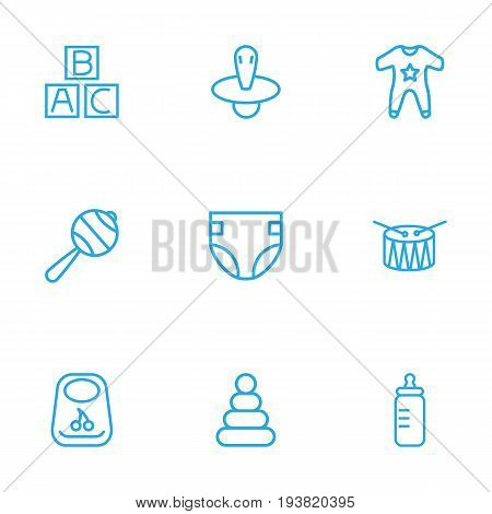 Set Of 9 Child Outline Icons Set.Collection Of Rattles, Pyramid, Nipple And Other Elements.