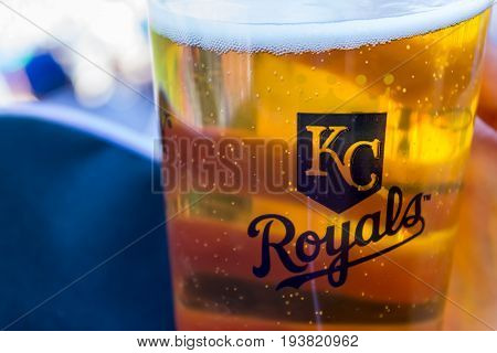 Kansas city Missouri United States- 6/26/2017 Kauffman stadium beer with Kansas city Royals logo on the cup