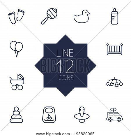 Set Of 12 Child Outline Icons Set.Collection Of Clockwork Car, Bib, Crib And Other Elements.