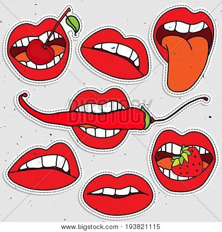 Lips sticker collection, sexy lips with strawberry, berry, red pepper. White teeth with tonque and sexy lips