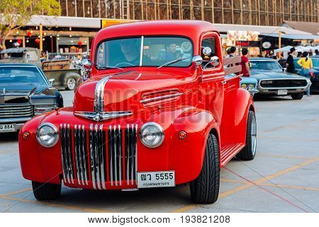 Old Car Show in BangkokFebruary 27: old american car in a annual exhibition on February 27 2016 in Bangkok. The exhibition is taken in Bangkok every year of February.