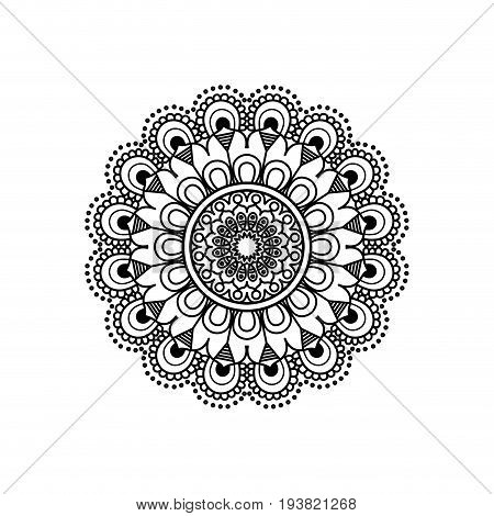 monochromatic flower mandala vintage decorative ornament vector illustration